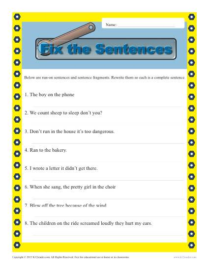 Run on and Fragments : Sentence Structure Worksheets