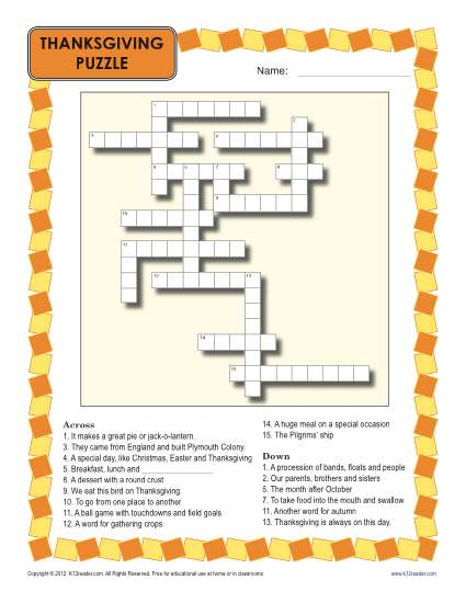 image relating to 3rd Grade Crossword Puzzles Printable identified as Thanksgiving Worksheet Crossword Puzzle