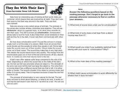 They See With Their Ears | 4th Grade Reading Comprehension Worksheet