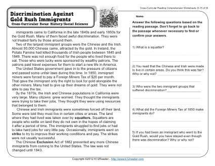 Angel Island Immigration Test   Worksheet   Education.com