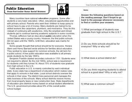 Public Education 4th Grade Reading Comprehension Worksheet