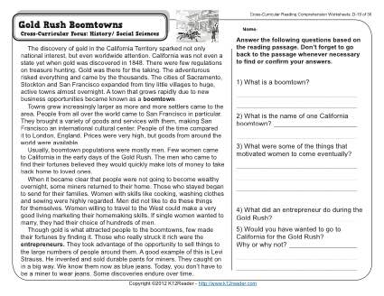 Gold Rush Boomtowns | 4th Grade Reading Comprehension Worksheet