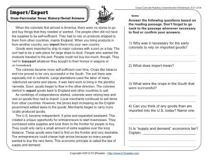 Import Export 4th Grade Reading Comprehension Worksheet
