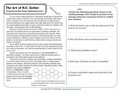 The Art of M.C. Escher | 4th Grade Reading Comprehension Worksheet