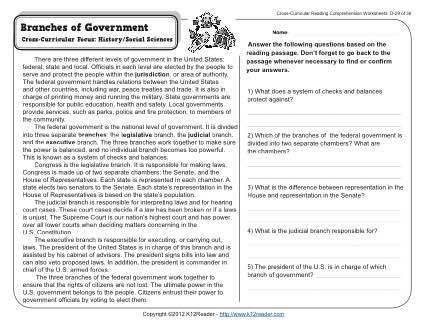 Branches Of Government 4th Grade Reading Comprehension Worksheet
