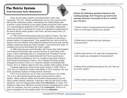 The Metric System | 4th Grade Reading Comprehension Worksheet