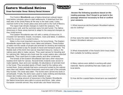 Eastern Woodland Natives 4th Grade Reading Comprehension Worksheet