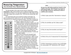 Measuring Temperature | 4th Grade Reading Comprehension Worksheet