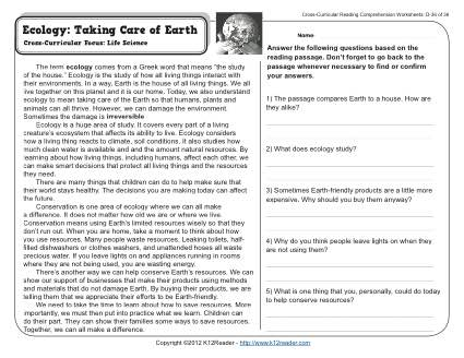 ecology taking care of earth 4th grade reading comprehension worksheet. Black Bedroom Furniture Sets. Home Design Ideas