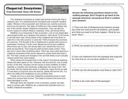 chaparral ecosystems 4th grade reading comprehension worksheet. Black Bedroom Furniture Sets. Home Design Ideas