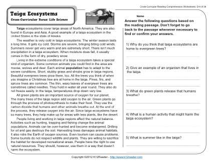 Taiga Ecosystems | 4th Grade Reading Comprehension Worksheet