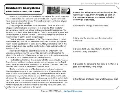 Gr Wk Rainforest Ecosystems on inferences worksheets for 2nd grade