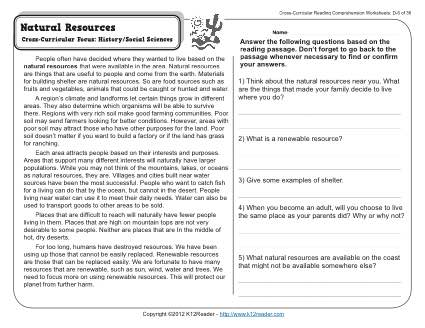 natural resources 4th grade reading comprehension worksheet. Black Bedroom Furniture Sets. Home Design Ideas