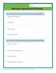 Printable Writing Worksheet - Prepositional Phrases