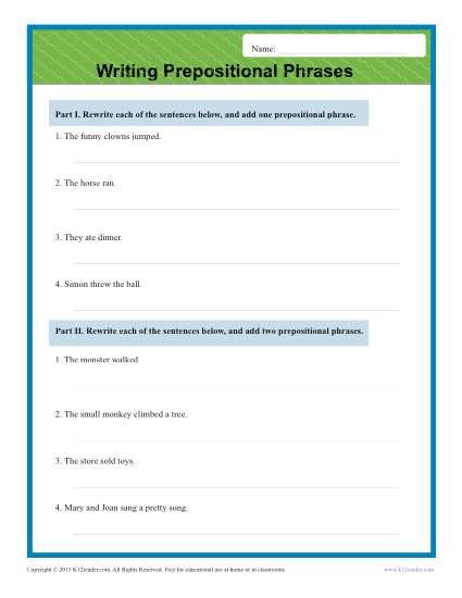 Writing Prepositional Phrases Sentence Worksheets