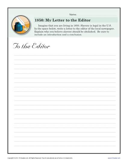 Letter to the Editor | Black History Month Worksheets
