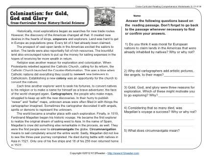 Colonization: for Gold, God, and Glory - Reading Worksheets