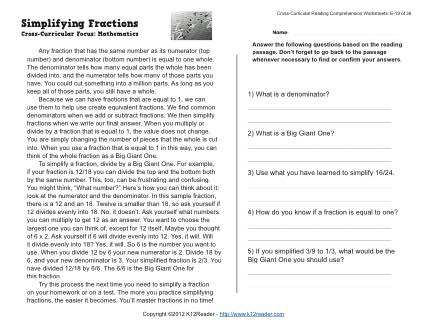 simplifying fractions  reading worksheets spelling grammar  simplifying fractions