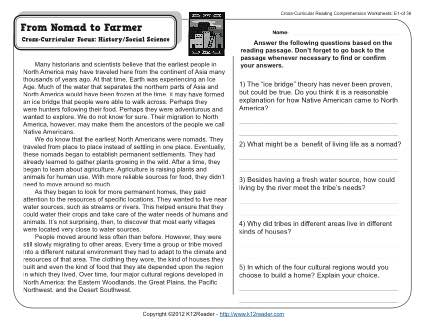 From Nomad to Farmer | 5th Grade Reading Comprehension Worksheet