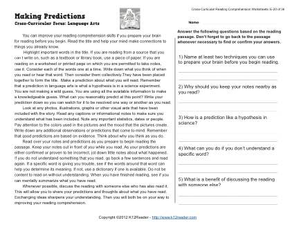 Making Predictions - Reading Worksheets, Spelling, Grammar ...