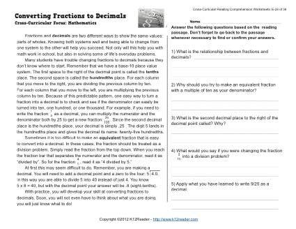 Converting Fractions To Decimals Reading Worksheets Spelling