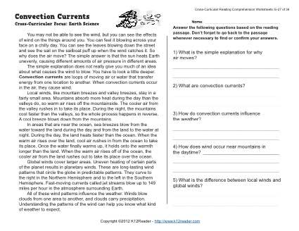 Convection Currents - Reading Worksheets, Spelling, Grammar ...