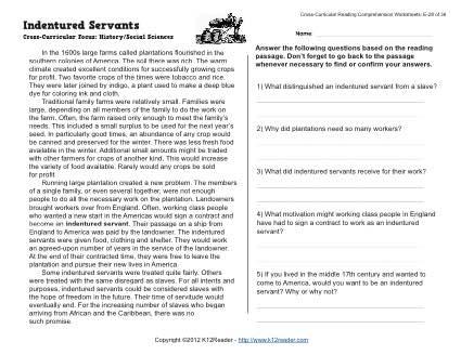 Indentured Servants Reading Worksheets Spelling