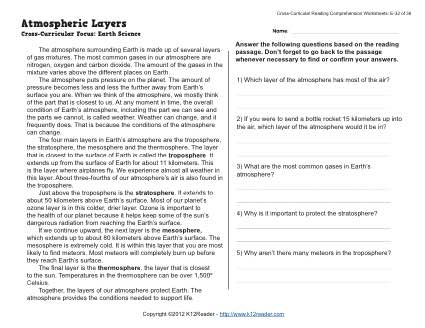 Atmospheric Layers | 5th Grade Reading Comprehension Worksheet