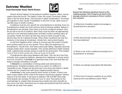 Extreme Weather | 5th Grade Reading Comprehension Worksheet