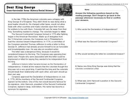 dear king george 5th grade reading comprehension worksheet. Black Bedroom Furniture Sets. Home Design Ideas