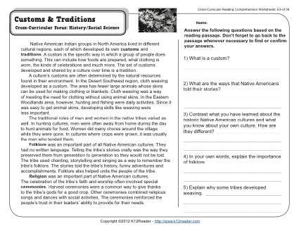 Customs and Traditions | 5th Grade Reading Comprehension Worksheet