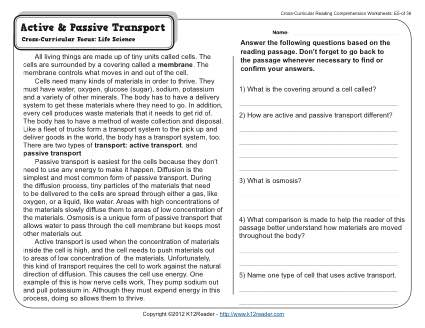 Active And Passive Transport 5th Grade Reading Comprehension Worksheet