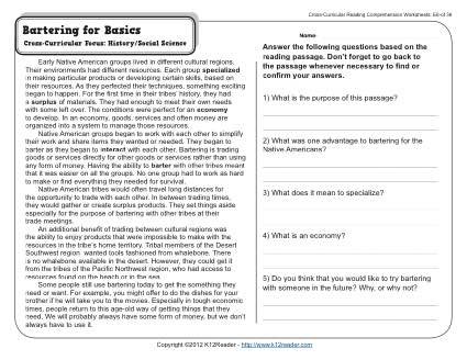 Bartering for Basics | 5th Grade Reading Comprehension Worksheet