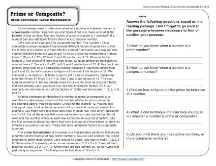 Prime or Composite? | 5th Grade Reading Comprehension Worksheet