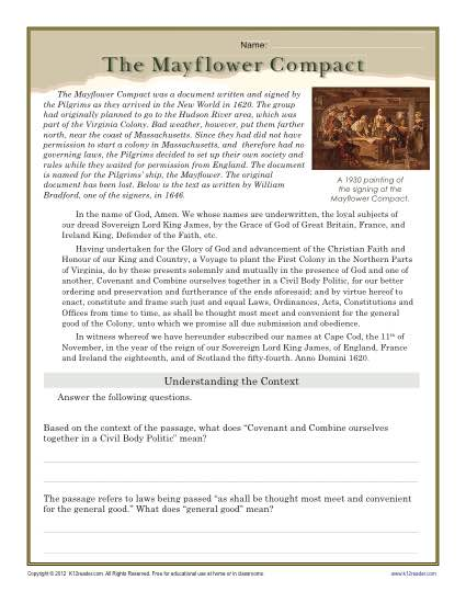 Thanksgiving worksheet the mayflower compact the mayflower compact reading comprehension activity ibookread Download