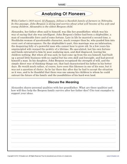 Analyzing O! Pioneers | 8th Grade Reading Comprehension Worksheets