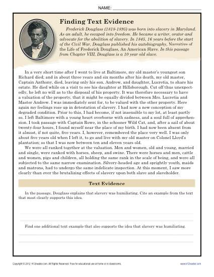 Gr Frederick Douglass Narrative on inferences worksheets for 2nd grade