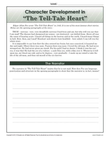 ... in The Tell-Tale Heart | 8th Grade Reading Comprehension Worksheets