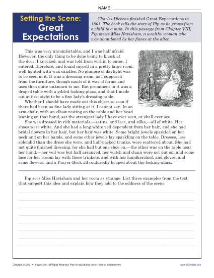 ... Great Expectations | 9th - 10th Grade Reading Comprehension Worksheets
