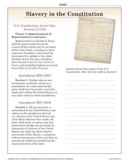 ... in the Constitution | 9th - 10th Reading Comprehension Worksheets
