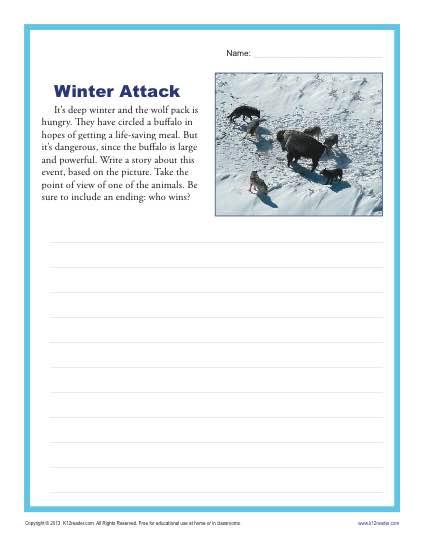 winter attack high school writing prompt worksheet. Black Bedroom Furniture Sets. Home Design Ideas