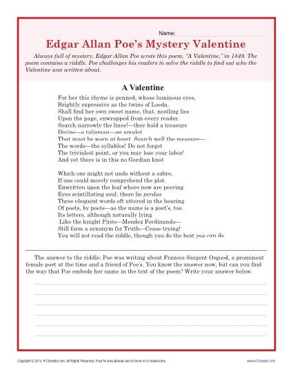 valentine 39 s day worksheet poe a valentine high school. Black Bedroom Furniture Sets. Home Design Ideas