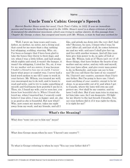 Uncle Tom S Cabin Black History Month Worksheets