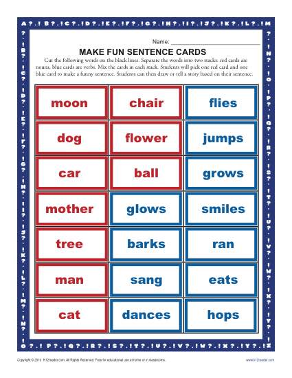 Make A Fun Sentence Kindergarten And First Grade Worksheets