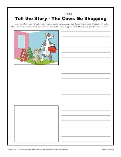 The Cows Go Shopping | Kindergarten Writing Prompt Worksheet