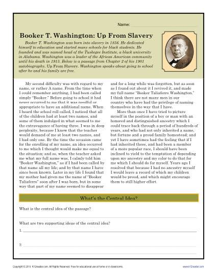 Booker T. Washington: Up From Slavery Black History Month Worksheets