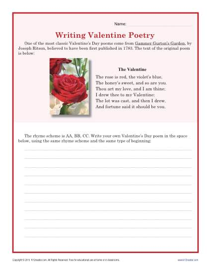 Valentine S Day Worksheet Writing Poetry Middle School