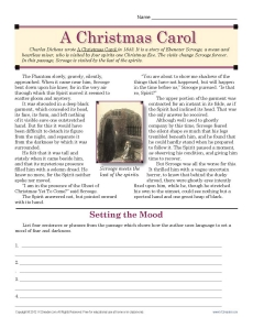 A Christmas Carol Christmas Worksheet For Middle School