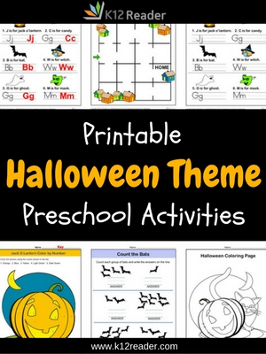 Halloween Themed Printable Activities for Preschool