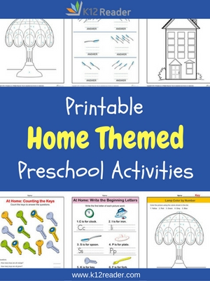 Home Themed Printable Activities for Preschool